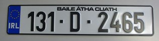 Aluminium Irish Number Plates (Standard Fonts)