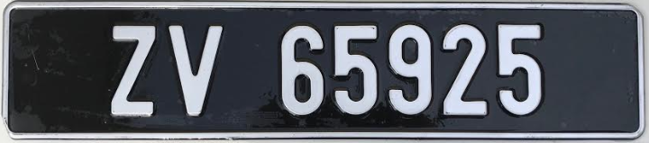 Silver Irish Font on black plate (Single)