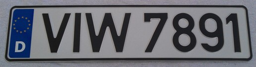 Classic German Black DIN Font on white plate 460mm short plate (Single)